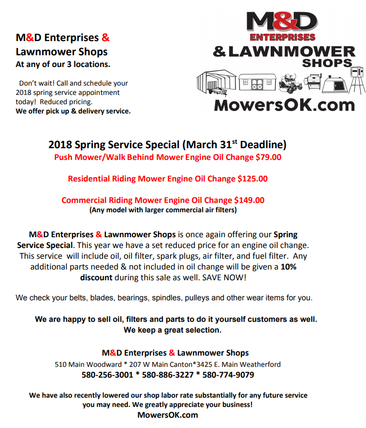 2018 spring service special end march 31st dont delay mowersok solutioingenieria Images